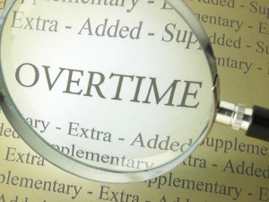 Overtime in a dictionary under a magnifying glass